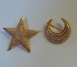Joan Rivers Signed Large Star & Moon Brooch/Pins Pave Crystal - $64.35