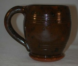 1948 Isaac Stahl Glazed Brown Redware Barrel Shaped Mug Handle Powder Va... - $300.00