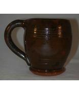 1948 Isaac Stahl Glazed Brown Redware Barrel Shaped Mug Handle Powder Va... - $300.00