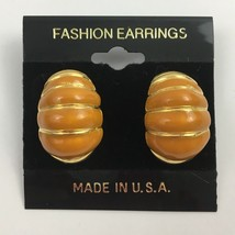 Vintage Shrimp Style Enamel Pierced Earrings Gold Tone Orange Small Chun... - $9.84