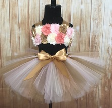Pink Peach Ivory and Gold Smash Cake 1st Birthday Tutu Set - $40.00+