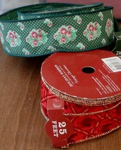 Country Living Holiday Ribbon - 25 ft - BRAND NEW - CHRISTMAS CLOTH RIBBON - $6.99
