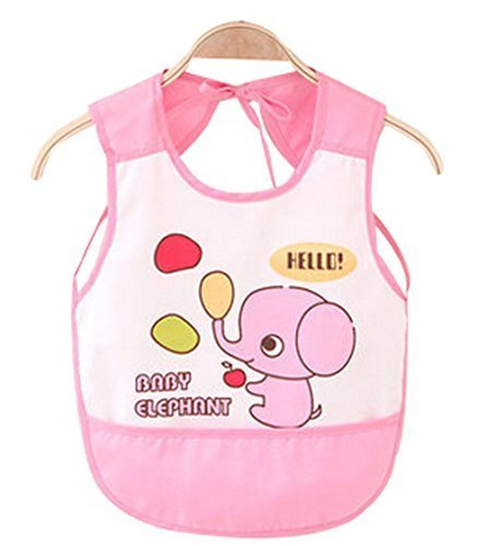 Waterproof Baby Bib Overclothes Painting Smock Apron Sleeveless Pink Elephant