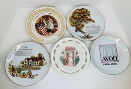Lot of 5 Avon Plates Anniversary & Betsy Ross NO Chips 5th 10th 20th 100th - $19.79