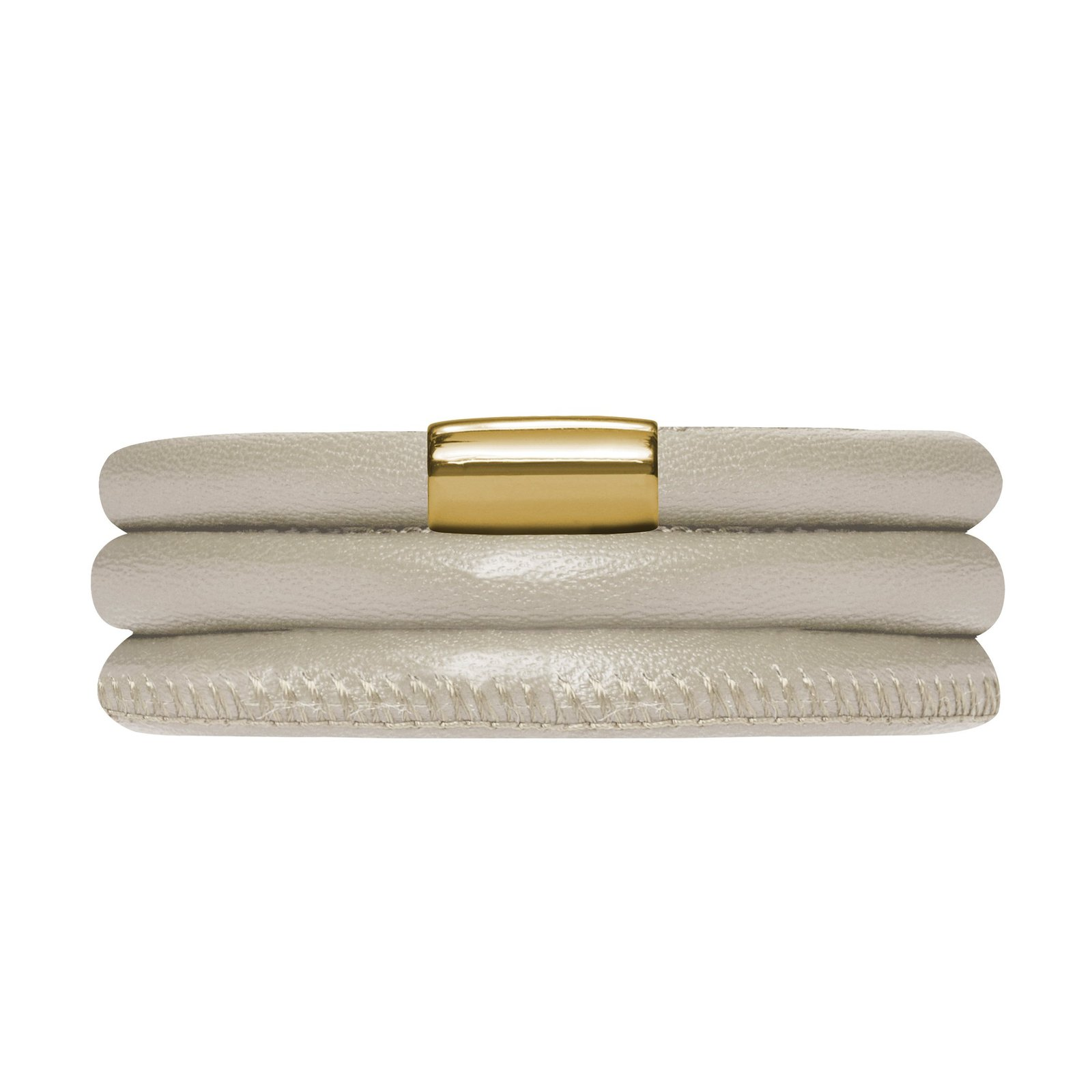 Jennifer Lopez Genuine Leather Bracelet in Creme Metallic Triple with Gold Plate