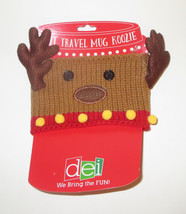 Knit Travel Mug Wrap Reindeer Adjustable Closure New Coffee Cover Christmas - $9.89