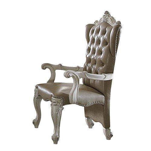 Acme Versailles Vintage Gray Faux Leather Arm Chair Set Of 2 - $939.19
