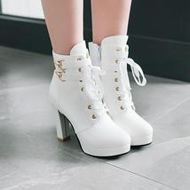 9Bb152 Sexy 11 cm lace-up booties, thick & high heels,size 4-8.5,white - $52.80