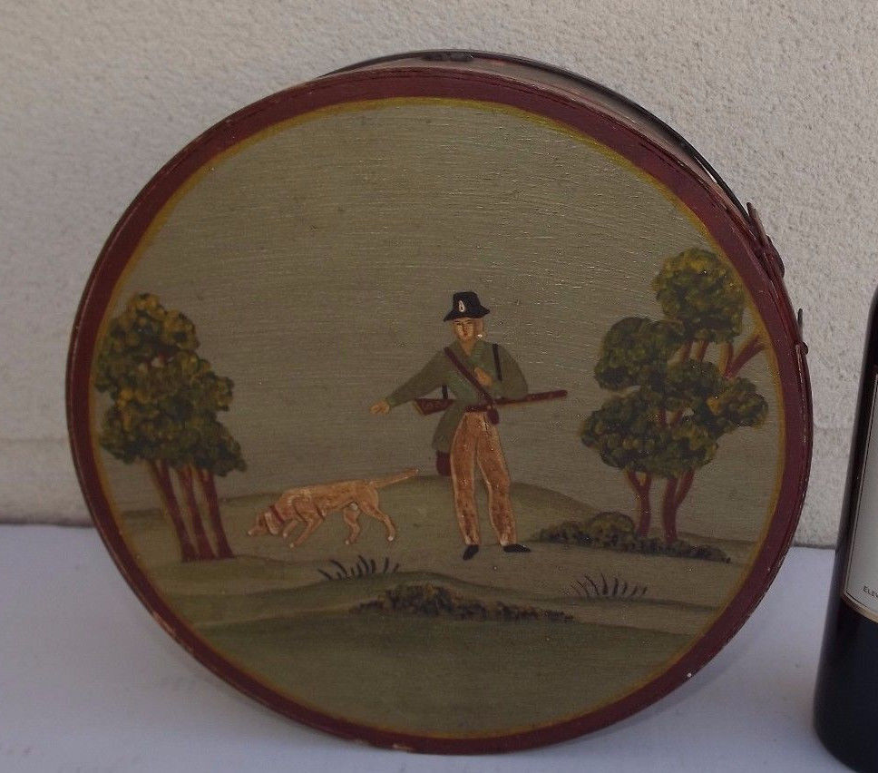 Primary image for Antique 1920 German brides wood box hanpainted folk art deco hunting natural