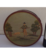 Antique 1920 German brides wood box hanpainted folk art deco hunting nat... - $390.00