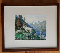 Diane Paton Peel Framed Art Print Mountain Goat Country Lithograph Vtg 8... - $154.42
