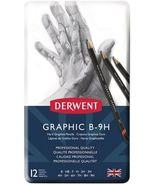 Derwent 12 Graphic B-9H Hard Pencils in Tin Set - £12.17 GBP