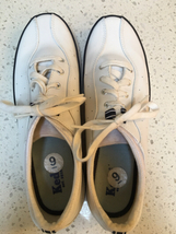 White leather Keds with blue trim size 9