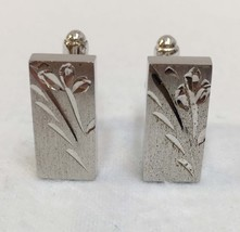 Cuff Links Sterling Silver Floral Leaf Design Etched Anson Brand Toggle ... - $24.74
