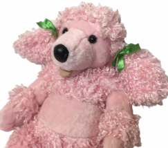 "Build A Bear Pink Poodle Puppy Dog Stuffed Animal Curly Fur Soft Toy 18"" - $24.99"