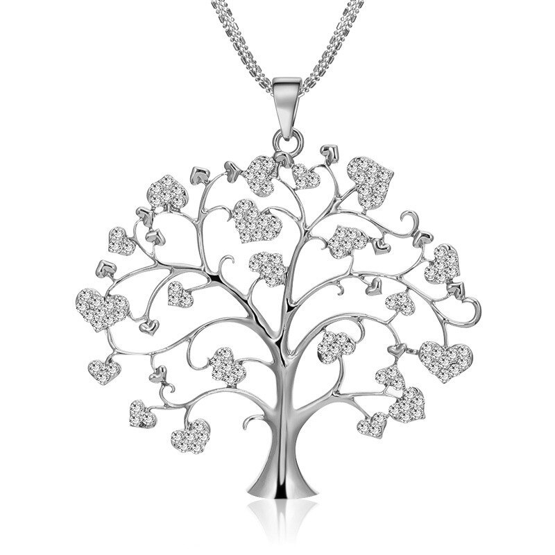 European and American simple heart set glass sone wish tree necklace    creative