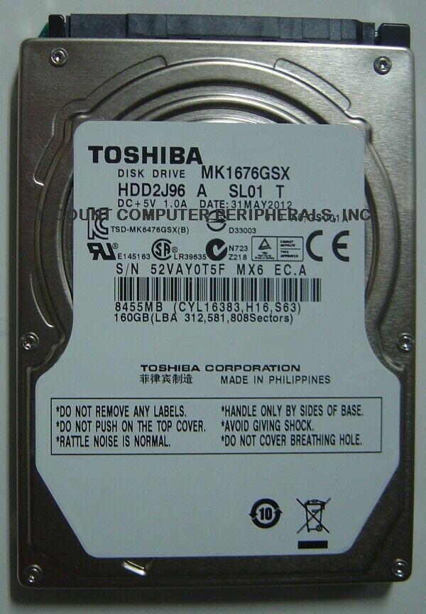 "New 160GB Toshiba MK1676GSX 2.5"" 9.5mm SATA Drive HDD2J96 Free USA Shipping"