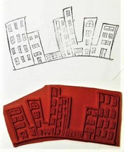 Unmounted Rubber Stamp of a Curved Cityscape