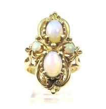 14k Yellow Gold Women's Vintage Cocktail Ring With Opals - $825.00