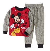 Mickey Mouse Boys 2 Piece Sleepwear Set Pants & Shirt Size 12 Months Red... - $10.88
