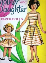 VINTAGE UNCUT ORIGINAL SZ 1960s MOTHER & DAUGHTER PAPER DOLLS (KENNEDY)~... - $18.50