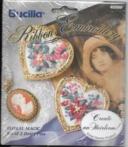 "Vintage Bucilla #40999 Ribbon Embroidery ""Floral Magic"" Heart Pins - NIP - $9.90"