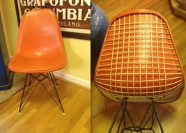 EAMES WIRE SHELL w/ Alexander Girard Naugahyde Cover Vintage Herman Mill... - $962.49