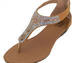 Womens Rhinestone Jeweled Sandals Beige Thong Gladiator Low Wedge Back Zipper