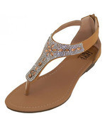Womens Rhinestone Jeweled Sandals Beige Thong Gladiator Low Wedge Back Z... - $11.99