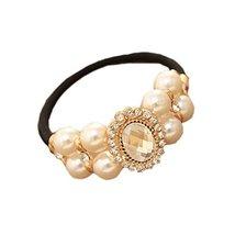 [Set of 2] Elegant Beads No-damage Elastics Ponytail Holders, Large Diamond