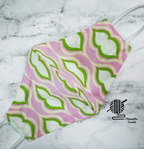 Face Mask Pink Green Cotton Washable Tropical Colorful Print Handmade USA - $13.50