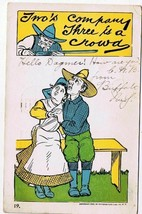 Comic Postcard Two's Company Three A Crowd Buffalo 1905 Souvenir Post Card Co NY - $3.77