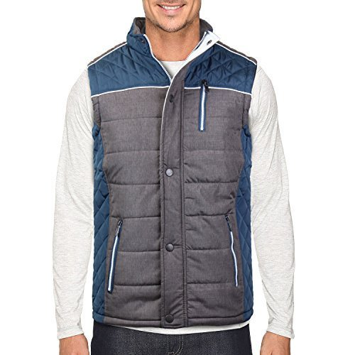 Holstark Men's Zip Up Insulated Fleece Lined Two Tone Vest (Medium, Teal)
