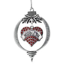 Inspired Silver Middle Sis Red Pave Heart Holiday Decoration Christmas Tree Orna - $14.69