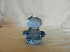 "Vintage Blue Glass Sitting Mouse Figurine 3.25"" Tall - $34.65"