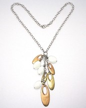 925 Silver Necklace, White Agate Pendant, Cluster, Oval Pink, Chain Rolo image 2