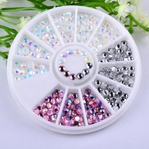 Gam-Belle® 3D Round AB Rhinestone Crystal Glitter Bead Pearl Wheel Nail ... - $2.54