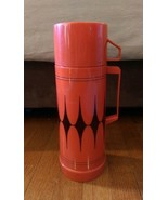 Vintage Aladdin Insulated Flask Thermos Red with Black Diamond Pattern 1... - $14.99