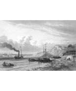 GERMANY Ehrenbreitstein on Rhine River Steam Boat - 1860 Antique Print - $10.71