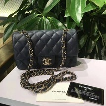 NEW AUTH CHANEL 2019 DARK NAVY CAVIAR LARGE MINI 20CM RECTANGULAR FLAP BAG GHW