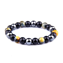 Men Women Bracelets Beads Tiger Eye Natural Stone Bracelets for Charm Br... - $11.74