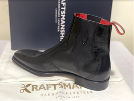 Handmade Men's Black Leather Brogues Style Chelsea Boots image 2