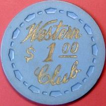 $1 Vintage Casino Chip. Western Club, Gardena, CA. 1955. Q53. - $9.50