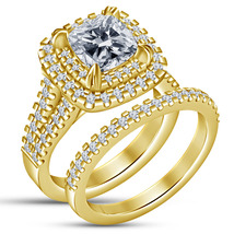 14K Gold Plated 925 Silver Cushion Cut White CZ 2Pcs Bridal Set Annivers... - $79.99