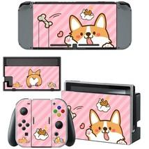 Nintendo Switch Console Dock Vinyl Skin Sticker Set Corgi Puppy Cute Pink Kawaii - $9.70