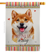 Shiba Inu Happiness - Impressions Decorative House Flag H110217-BO - $40.97