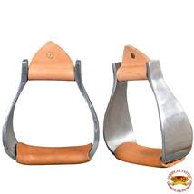 ST122 Hilason Aluminum Western Horse Saddle Stirrups With Leather HST122 Silver - $44.95