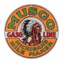 """Musgo Gasoline Michigan's Mile Design (Reproduction) 12"""" Circle Aluminum Sign - $16.09"""