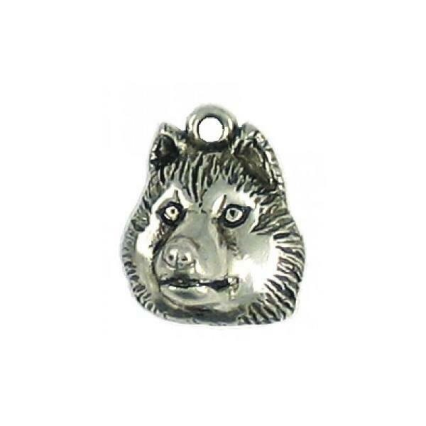 HUSKY FACE DOG FINE PEWTER CHARM PENDANT - 17mm  x 14mm x 7mm
