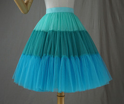 Women Knee Length Puffy Tulle Skirt Mint Green Blue Layered Tulle Skirt A-Line image 3
